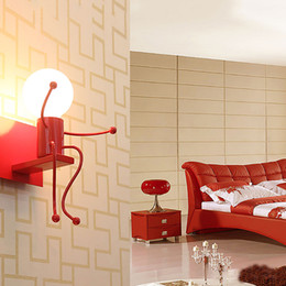 Contemporary Hallways Light Australia - Modern Cartoon Doll Wall Light Hallway red white black wall lamps Bedroom beside home lighting art lamps 1 2 heads E010