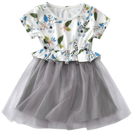 girls pleated skirts UK - Baby Girls Sweet Princess Tutu Dress Floral Printed Tulle Skirt Dress Kids Clothing For Prom Party Daily