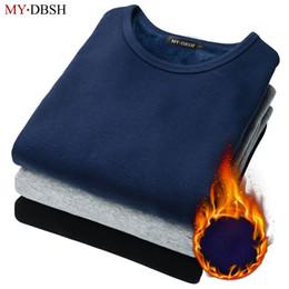 Discount man t shirt underwear cotton - Spring and Autumn thermal underwear Men's Long-sleeved t-shirt Slim plus thick cashmere undershirt Man Cotton Undershirt