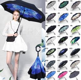 Опт Новый складной обратный ветрозащитный зонтик 63 стили двойной слой перевернутая длинная ручка ветрозащитный дождь автомобиль зонтики C ручка зонтики T2I384