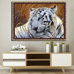 Tiger Tools Australia - DPF 5D round diamond painting with frame white tiger DIY diamond embroidery with frame mosaic wall art home decor painting crafts