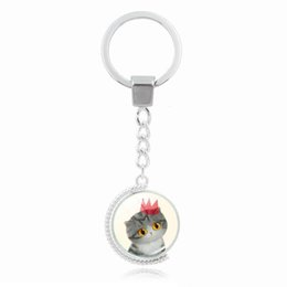 wholesale cat key rings UK - Double 360 rotating cute cat key chain DIY Time Gem Cabochon key ring Rotate jewelry gift