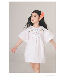 online shopping 2018 New girl dress cotton round collar short sleeve solid color flower embroidery dress charming Lolita summer dress cm
