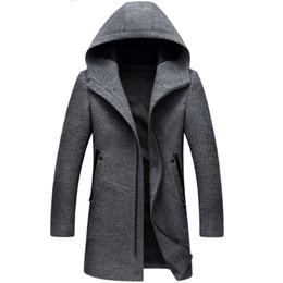 $enCountryForm.capitalKeyWord NZ - Winter Long Hooded Trench Coat Men Winter Casual Men's Wool Hoodie Trench Coats Zipper Slim Fit Mens Windbreaker Pea Coat