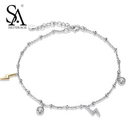 $enCountryForm.capitalKeyWord Canada - SA SILVERAGE Real Sterling Silver 925 Jewelry City Sky Lightning Anklets 2018 Trendy Chains Anklets for Women
