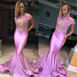 Gold embroidery abaya online shopping - 2018 Lavender High Neck Cap sleeves Mermaid Prom Dresses With Sheer See Through Top Applique Lace Ruffles Evening Gowns For Abaya African