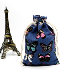 China New And Colorful Printing 50pcs 10x14cm Canvas Bag Cheap Jewelry Cosmetic Storage Drawstring Bags Wedding Gift Favors suppliers