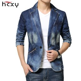 mens blazers jeans 2019 - Casual Mens Denim Jackets nad coats Fashion High Quality Male jeans Blazer Single Breasted Cotton Denim Jacket for Men s