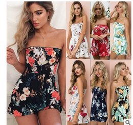 strapless white jumpsuit shorts NZ - Lady sexy strapless Jumpsuits Rompers shorts woman floral prints off shoulder wrap chest one piece hot pants