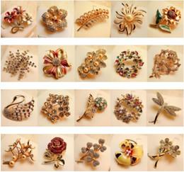 $enCountryForm.capitalKeyWord Australia - Nice Brooch Pins, Mixed Lot Elegant Flowers Great Gift Idea Womens Girls Rhinestone Crystal Pin Brooches