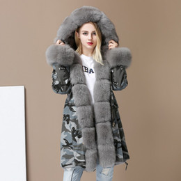 Barato Casaco Com Capuz De Pele Forrada Para Mulheres-Womens Camouflage 100% Real Genuine Fox Fur Collar Cuff Forro Warm Overcoat Hooded Warm Coat Parkas Long Winter New Luxury ab116