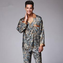 8897419ec4 New Luxury pajamas Men Paisley Pattern Sleepwear Silk long-sleeved Satin  Mens Pyjamas Men s Lounge Pajamas Set Plus Size 4XL