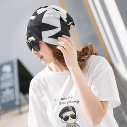 Star Skull Cap NZ - Miya Mona Autumn Beanie Women Printed Hat Star Pattern Scarf Neck Tube Girls Winter Bonnet Female Multifunction Cap Headwear