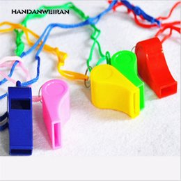 Wholesale 2017 New Plastic Whistle With Lanyard for Boats Raft Party Sports Games Emergency Survival New Items Hot Sale