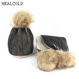kids beanies NZ - 2018 new pompoms winter hat for kids girls striped knied beanie scarf hat children cap boys