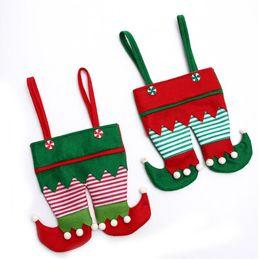 Wrapping Paper Gift Sets Australia - 2 pcs set Christmas Decoration Christmas Elf Bag New Candy Bag Santa Gift Bag Holiday Party Supplies
