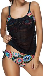 Mesh Two Piece Swimsuit Canada - Sexy Women Tankini with short Two-pieces Sports Swimsuits GYM Contrast Color Plus Size Bathing suits Swimwear Push up Mesh Patchwork KA1120