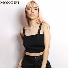 spaghetti top button 2019 - MONGIFI Punk Blackless Tank Top Women 2018 Metal Button Club Hippie Camis Black Spaghetti Strap Crop Tops Off Shoulder C
