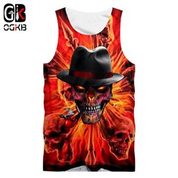 Wholesale tank top skull men resale online - OGKB New Harajuku Women men d Print Smoking Skull With Hat Tank Top Unisex Bodybuilding Fintess Sleeveless Shirts Quick Dry