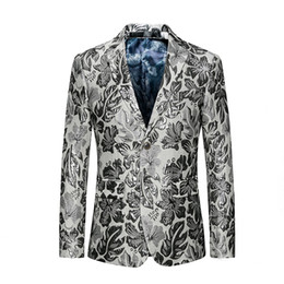 korean blazers suits UK - Spring and Autumn New Trend Personality Flower Suit Korean Slim Small Blazer XZ031