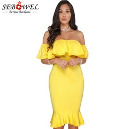 $enCountryForm.capitalKeyWord NZ - SEBOWEL 2018 Elegant Yellow Off Shoulder Party Short Dress Women Sexy Backless Ruffles Sleeve Club Dresses Female Vestidos S-XXL S920