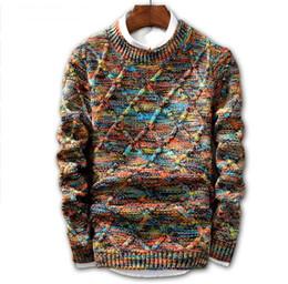 Venta al por mayor de JIN JUE LES Sweater Men 2018 Marca suéter de la manera suéter macho O-cuello raya Slim Fit tejido suéteres para hombre Hombre Pullover Hombres