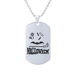 $enCountryForm.capitalKeyWord UK - wholesale 12pcs lot candy Bat magic broom Engraved Charm pendant necklace Stainless Steel Halloween necklace Halloween jewelry gift