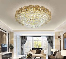 $enCountryForm.capitalKeyWord NZ - Living room Room LED 3 Brightness K9 Crystal and Golden Mirror Stainless Steel Chandelier Ceiling Lamps Hanging Light With LED Bulb and Remo
