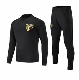 Wholesale 2018 Brazilian Club Sao Paulo adult Soccer Tracksuit Set Kit Black Football Jacket Training Suit Survetement