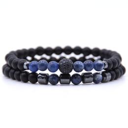 Hematite Jewelry Sets NZ - Natural Stone Bracelet Set 6mm Black Matte Beads Hematite Bracelet 2 Pcs Set For Men Women Gift Charms Bangles Lucky Couple Jewelry H797F