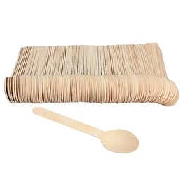 Chinese  Eco -Friendly 100pcs Disposable Wooden Spoon Tableware Bamboo Scoop Coffee Honey Tea Spoon Bbq Tableware Tools manufacturers