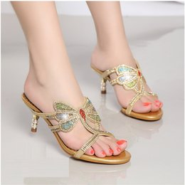 Small rubber fiSh online shopping - Summer new diamond sandals female han edition leather set auger fish mouth shoes cool crystal high heeled slippers small yards