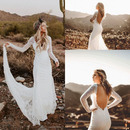 $enCountryForm.capitalKeyWord Australia - Lover Society Long Sleeve Wedding Dresses 2018 Modest Full Lace Backless Outdoor Boho Country Bridal Reception Dress Cheap