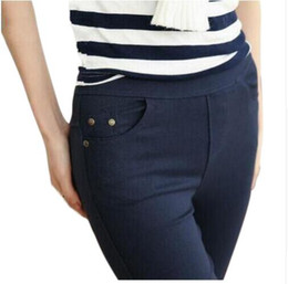 women trousers navy UK - 2018 Plus Size Women's Pencil Pants Women Casual Capris White Black Navy Color Female Bottoming Pants Brand Slim Trousers