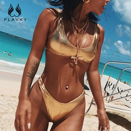5da2984371b5e Sexy Shiny Pink Gold Silver Metallic Leather Scoop Neck Biquini Bathing  Suit Swimsuit Plus Size Swimwear Women Brazilian Bikini