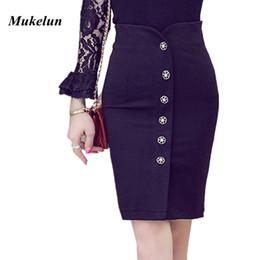 56baef0bf Plus Size Sexy Women Office Skirt 2018 Summer Slim Bodycon High Waist  Button Split Formal Office Lady Black Pencil Skirts Female