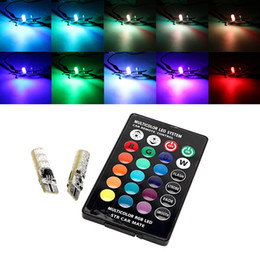 car remote silicone Australia - 1 Pair Silicone T10 W5W LED Car Dome Reading Lamp with Remote Control 194 168 RGB Bulb 5050 SMD Auto Atmosphere Lamp Car-styling