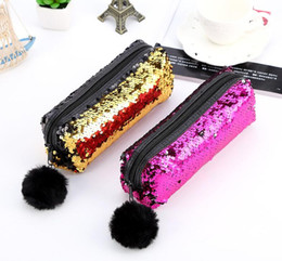 Discount color change pen - Mermaid Pencil Case Color Changing Reversible Sequins Pen Bags with hair ball for Girls Magic glitter pencil Bag GGA755