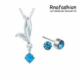 $enCountryForm.capitalKeyWord NZ - Simple Fashion austrian crystal Jewelry Set Trendy Jewerly Fairy Angels wings Pendant Necklace Jewellery