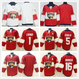 Florida Panthers Stitched Hockey Jerseys Mens  1 Roberto Luongo 5 Aaron  Ekblad 16 Aleksander Barkov Blank Home Red Road White Jersey 2581078be