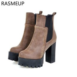 667e72ee1dd RASMEUP Women Super High Heels Ankle Boots 2018 Fashion Autumn Winter  Platform Women s Short Boots Zipper Thick Sole Woman Shoes