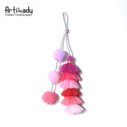 Assorted Chains Australia - Artilady Cute Tassel Fur Balls Bag Charm Assorted Color Car House Key Chain Hanging Ornament For Women Jewelry dropshipping