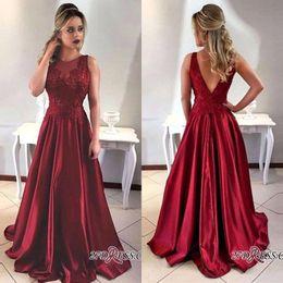 apple shaped dresses 2019 - 2018 Dark Red Sleeveless O-neck Satin Long Formal Evening Dresses V Shape Backless Custom Made Prom Gowns For Graduation