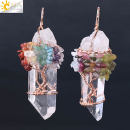 Wholesale trees roses resale online - CSJA Men Big Gemstone Pendant Women Natural White Crystal Quartz Chakra Tree of Life Rose Gold Handmade Wire Wrapped Necklace Charms F517