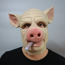 pig costumes 2018 - Smoking Pig With Cigarette In The Mouth Halloween Mask Headwear Halloween Party Decorations Costume Ball Party Masks che