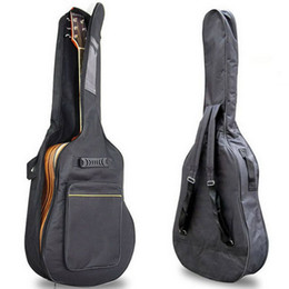 "wholesale black guitar straps UK - 41"" Acoustic Guitar Double Straps Padded Guitar Soft Case Gig Bag Backpack High Quality"