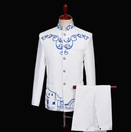 chinese coat designs NZ - Chorus white Chinese tunic suit for men blazer boys prom mariage suits fashion slim masculino latest coat pant designs singer