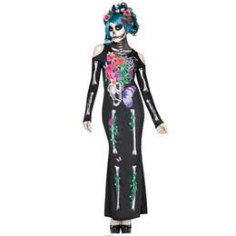 $enCountryForm.capitalKeyWord UK - Chinese Style Flowers Skeleton Suit Halloween Dress Set Skinny Dress Skeleton Cosplay Wear Mask Dance Party Sexy Ghost Dress