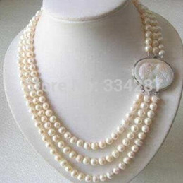 Discount white gold cameo Genuine 3 Rows 7-8MM Freshwater pearl Necklace Cameo Clasp