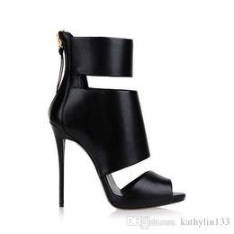 $enCountryForm.capitalKeyWord NZ - 2018 New Fashion Metal Thigh-high Black Peep toe Classic Customized Women Leather Brand Super high heels Boots Summer Boots Free Shipping